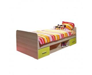 Detská posteľ s úložným priestorom Emio Typ 4 90 - dub sonoma / zelená
