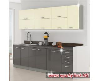 Kuchyňa Prado 260 - sivý vysoký lesk / krémový vysoký lesk