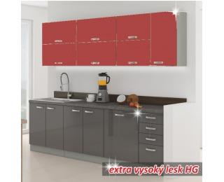 Kuchyňa Prado - sivý vysoký lesk / červený vysoký lesk