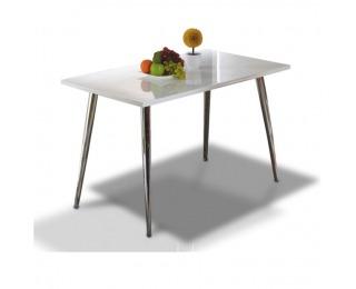 Jedálenský stôl Pedro - biely vysoký lesk / chróm