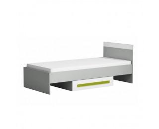 Detská posteľ s úložným priestorom Piere P12 90 - sivá / biela / zelená