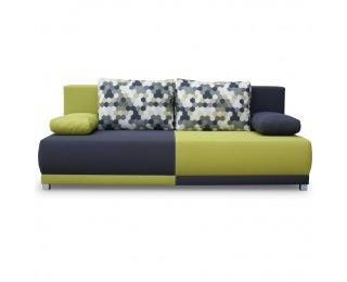Rozkladacia pohovka s úložným priestorom Spiker - zelená / sivá / vzor