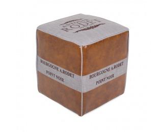 Kožená taburetka Roman 2 - hnedá / sivá