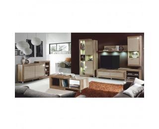 Obývacia izba Gatik - dub antický / béžový vysoký lesk