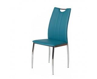 Jedálenská stolička Oliva - chróm / modrá petrolejová