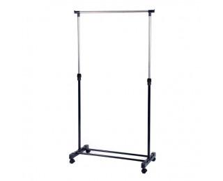 Pojazdný stojan na šaty Dolfo - nerezový kov / čierna