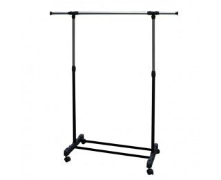 Pojazdný stojan na šaty Hilar - nerezový kov / čierna