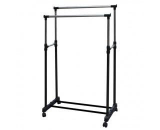 Pojazdný stojan na šaty Oliver - nerezový kov / čierna