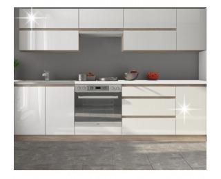 Kuchyňa Line White 260 - biely vysoký lesk / dub sonoma