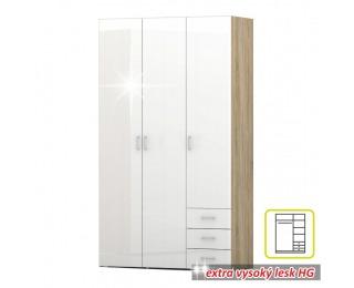Šatníková skriňa Gwen 70427 3D - dub sonoma / biely vysoký lesk