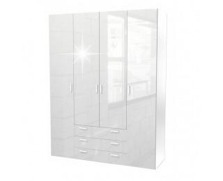 Šatníková skriňa Gwen 70429 4D - biely vysoký lesk