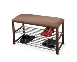 Botník s lavicou Langella - čokoládová / tmavohnedá / sivá