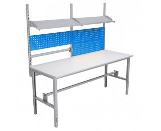 Montážny stôl s nadstavbou 2000 02 - svetlosivá / modrá