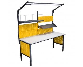 Montážny stôl s nadstavbou a osvetlením 2000 03 - grafit / žltá