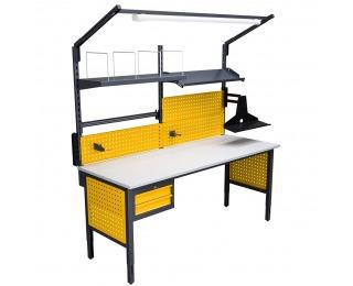 Montážny stôl s nadstavbou a osvetlením 2000 04 - grafit žltá