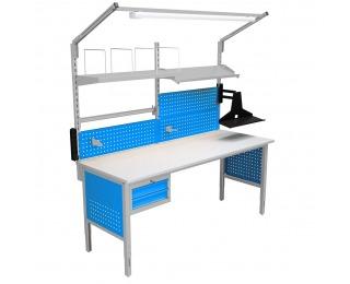 Montážny stôl s nadstavbou a osvetlením 2000 04 - svetlosivá / modrá