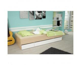 Jednolôžková posteľ s úložným priestorom Matiasi 90 - buk / biela