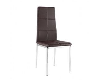 Jedálenská stolička Lera - hnedá / chróm
