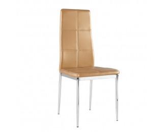 Jedálenská stolička Lera - svetlohnedá / chróm
