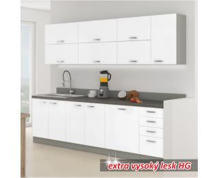 Kuchyňa Prado - biely vysoký lesk