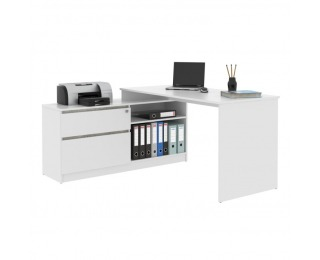 Rohový PC stolík Bentos - biela / betón