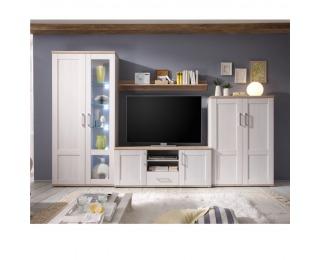 Obývacia stena s osvetlením Provensal - biela / dub san remo