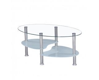 Konferenčný stolík Wave New - oceľ / číre a mliečne sklo