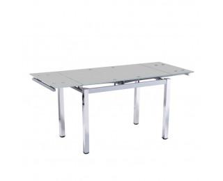 Rozkladací jedálenský stôl Ditmar - chróm / strieborná / mliečne sklo