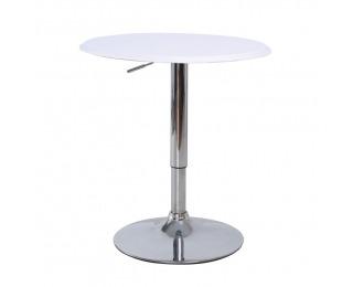 Barový stôl Brany - chróm / biela