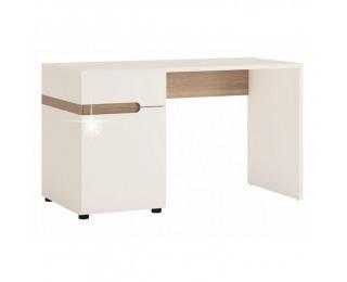 PC stolík Lynatet 80 - biela / biely vysoký lesk / dub sonoma truflový