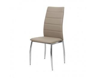 Jedálenská stolička Dela - hnedá / chróm