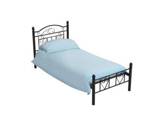 Kovová jednolôžková posteľ s roštom Brita 90 - čierna