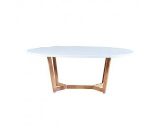 Konferenčný stolík Glosy - biely vysoký lesk / dub sonoma