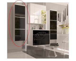 Kúpeľňová skrinka na stenu Mason BL 11 - biela / čierny vysoký lesk