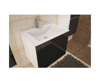 Kúpeľňová skrinka pod umývadlo Mason BL 13 - biela / čierny vysoký lesk