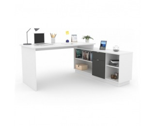 Rohový PC stolík Dalton 2 New - biela / grafit