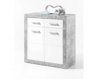 Dvojdverová komoda Slone 1 - biely lesk / sivý betón