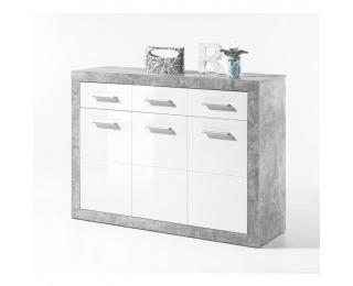Trojdverová komoda Slone 2 - biely lesk / sivý betón