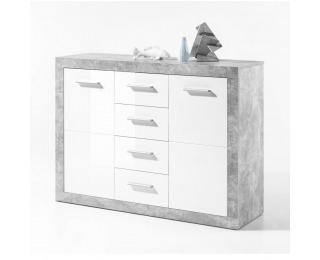 Dvojdverová komoda Slone 4 - biely lesk / sivý betón