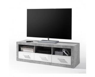 TV stolík Slone 6 - biely lesk / sivý betón