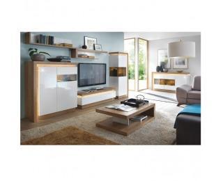 Obývacia izba s osvetlením Leonardo - dub riviera / biely vysoký lesk
