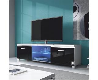 TV stolík Lugo 2 - biela / čierny vysoký lesk