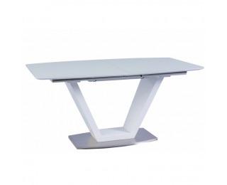 Rozkladací jedálenský stôl Perak - biely vysoký lesk