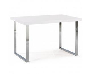 Jedálenský stôl Talos - biela vysoký lesk / chróm