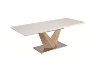 Rozkladací jedálenský stôl Durman - biely vysoký lesk / dub sonoma / oceľ