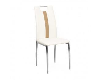 Jedálenská stolička Signa - biela / béžová / chróm
