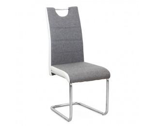 Jedálenská stolička Izma - sivá / biela / chróm