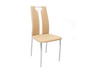 Jedálenská stolička Signa - béžová / biela / chróm