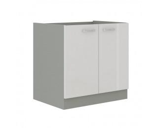 Drezová kuchynská skrinka Prado 80 ZL 2F BB - biely vysoký lesk