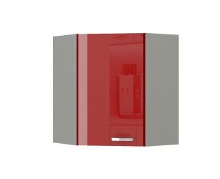 Horná rohová kuchynská skrinka Prado 60/60 N G-72 - červený vysoký lesk